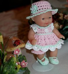 Crochet outfit Berenguer 5 inch baby doll by dollcrochetboutique, $16.99