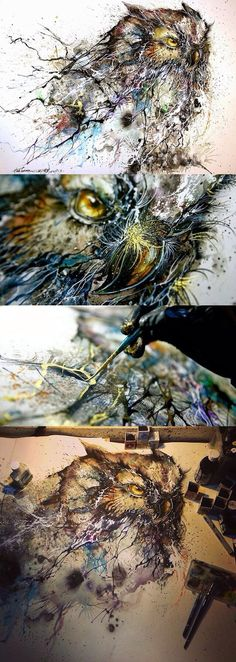 Chinese illustrator, painter, and street artist Chen Yingjie (aka Hua Tunan) creates paintings that are alive with energy. Using a splattering technique, he creates beautiful creatures that radiate with vibrant colors