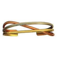 Copper Swirl - Sergio Lub Copper, Silver & Brass Bracelet - Made in... (1 325 UAH) ❤ liked on Polyvore featuring jewelry, bracelets, brass jewelry, swirl jewelry, silver jewellery, brass bangles and silver bangles