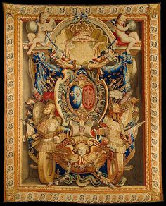 "Manufacture Nationale des Gobelins (French, established 1662). Tapestry (armorial hanging), late 17th century. The Metropolitan Museum of Art, New York. Gift of Thomas Emery, 1954 (54.149) | This tapestry (referred to as an 'armorial' tapestry because it depicts a coat of arms) depicts many symbols associated with French King Louis XIV: fleur-de-lis, a sun, a crown, and the letter ""L"" with a crown. #tapestrytuesday"