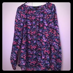 Sanctuary Long Floral Silk Top Billowy sleeves and long. 100% Silk. Navy base with blues/pinks/purples. 6 buttons in the front. Worn twice. Excellent condition. Runs big. Sanctuary Tops Blouses
