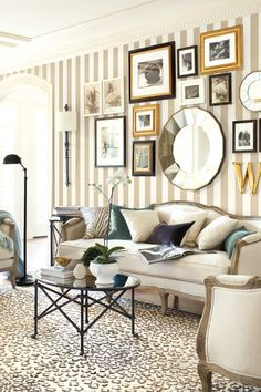 Ballard Designs Canopy Stripe wallpaper in a living room