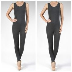 Tank bodysuit RESTOCKED One piece spandex light knit tank body suit also  in CHARCOAL GREY and also AVAILABLE IN BLACK PLEASE comment on the size you want ( when you are ready to purchase) and allow me to make you a personalized listing PLEASE DON'T use the bundle option listings just to show sizes available BUNDLE and save 10% ( no trades price is firm unless bundle) Pants Jumpsuits & Rompers