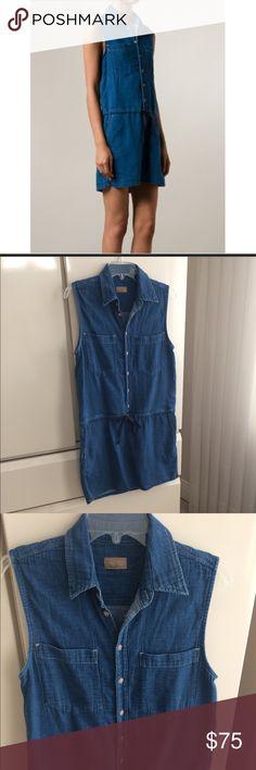 "Mother Denim Mother Denim Shirt Dress. Size M. EUC. Chest 16 1/2"" Across. 34"" Length 2 front pockets. Drawstring at waist. super soft. 100% Cotton MOTHER Dresses"