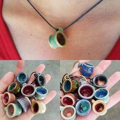 Mini coffee cup necklaces - adorable.