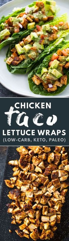 Chicken Taco Lettuce Wraps (Low-Carb , Paleo, Keto) - chicken tacos for dinner - recipes with chicken - chicken dinner recipes - low carb recipes low-carb dinner - paleo dinner - paleo recipes -keto recipes - keto dinner - healthy recipes - Low Carb Paleo, Low Carb Diet, Low Carb Recipes, Yummy Recipes, Diet Recipes, Chicken Recipes, Cooking Recipes, Healthy Recipes, Keto Chicken