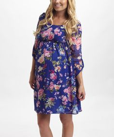 Look what I found on #zulily! PinkBlush Royal Blue & Pink Floral Chiffon Empire-Waist Dress #zulilyfinds
