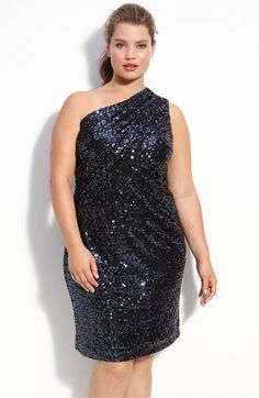 plus size black one shoulder sequin dress #UNIQUE_WOMENS_FASHION