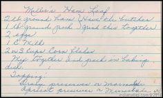 Family Recipe Friday - Millie's Ham Loaf #genealogy #familyhistory