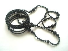 Vintage Long Jet Black Faceted Resin Bead by TheGatsbyGals on Etsy