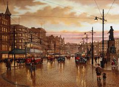 Piccadilly 1935 by Steven Scholes Edwardian Architecture, Manchester Art, Salford, Art Competitions, Local History, Famous Artists, Travel Around, New Art, Street View