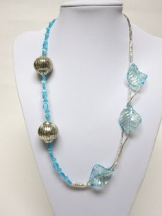 Blue Silver Necklace Glass Metal Leaves Long by sweetie2sweetie