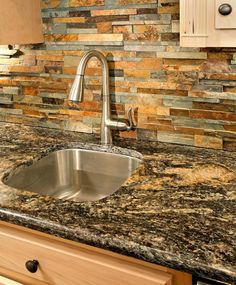Great Falls Bar Sink And Faucet With Ledgestone Backsplash