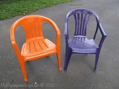 Painting Plastic Chairs On Pinterest Patio Furniture Makeover Plastic Chairs And Painting
