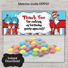 Dr Suess Treat Bag Topper,Cat in the Hat favor,Thing 1 and 2 Topper,JPG file,Favor Topper,Dr Suess Party,Cat in the Hat,Thing 1 and 2,DPP37