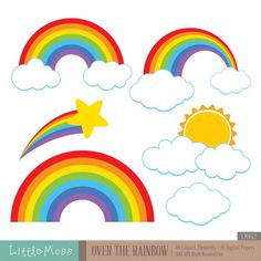 Over The Rainbow Clipart by LittleMoss on Etsy Rainbow Birthday Party, Rainbow Theme, Rainbow Dash, Unicorn Birthday, Unicorn Party, Rainbow Colors, Design Blog, Web Design, Party Banner
