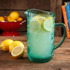 The Pioneer Woman Adeline Turquoise Glass Pitcher, Dishwasher Safe: The Pioneer Woman Adeline Glass Pitcher introduces a country flair to your kitchen when serving old fashioned lemonade, iced tea or water to your guests. The Pioneer Woman, Pioneer Woman Dishes, Pioneer Woman Kitchen, Pioneer Woman Recipes, Pioneer Women, Pioneer Woman Glasses, Mason Jar With Straw, Mason Jars, Thing 1