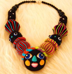 Matryoshka Statement Necklace,avant garde Necklace,OOAK Necklace,colorful Special braids,contemporary art Necklace,art jewelry,gift,kawaii