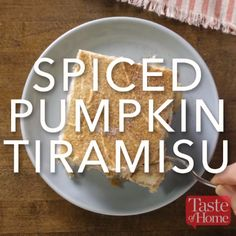 I added pumpkin and subtracted some of the coffee flavor in a tiramisu I developed for a special holiday dinner. A new Christmas tradition was born! Pumpkin Recipes, Fall Recipes, Sweet Recipes, Holiday Recipes, Köstliche Desserts, Delicious Desserts, Dessert Recipes, Yummy Food, Plated Desserts