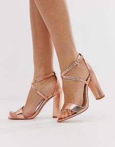 a097df35c703 Glamorous Wide Fit cross strap heeled sandals in rose gold