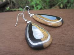 Wood Ear Drops  Inlaid with Pewter Silver and by inbloomdesigns, $60.00 #luxury #unique #pearl #black #contrast #earrings #handmade #artisian #jewelry
