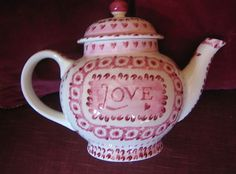 Emma Bridgewater Studio Special Pink LOVE Four Cup Teapot decorated by Lynsey