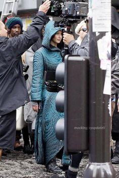 Jennifer Lawrence and Liam Hemsworth on set of Mockingjay!