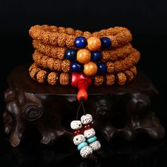 Nepal Five Petal Rudraksha Beads Bracelet Original DIY Fashion Bead Bracelet Men And Women Jewelry Blue Turquoise Accessories