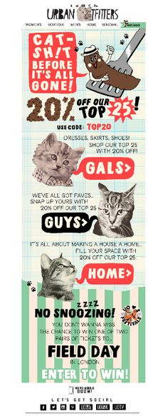 Urban Outfitters Email design with added poo and cats!