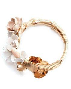 Nina Ricci porcelain and glass flower bracelet