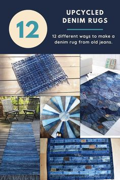 There is more than one way to upcycle and repurpose your old denim into a blue jean rug. Here are 12 unique denim rug tutorials. #denim #diyrug Reuse Jeans, Diy Old Jeans, Artisanats Denim, Denim Rug, Denim Quilts, Jean Crafts, Denim Crafts, Upcycled Crafts, Repurposed