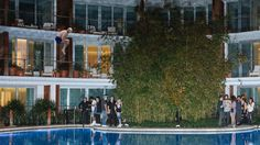 MIAMI—Whirling an empty Corona bottle above his head as he drew onlookers' attention with a loud, sustained howl, Democratic presidential candidate Bernie Sanders reportedly impressed Florida voters Monday by jumping from his hotel balcony into the pool below.