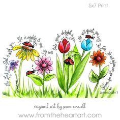 Ladybug Parade Print (Zephaniah - great art project idea, but can use different flowers & verses.maybe a tree or two? Scripture Art, Bible Art, Bible Scriptures, Bible Quotes, Biblical Quotes, Zephaniah 3 17, Bibel Journal, Heart Art, Art Plastique