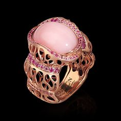 Mousson atelier, collection Coral Reef, ring, Pink gold 750, Pink opal 6,35 ct., Pink sapphires