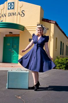 f16ab48310ae Manhattan Dress - Navy. Vintage Inspired FashionRetro FashionFlare  SkirtFlare DressSwing ...