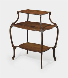 EMILE GALLE (1946-1904) | A STAINED WALNUT AND MARQUETRY THREE-TIERED TABLE, CIRCA 1900