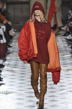 Alpha Industries Flight JacketsTopping off the one look that pretty much sums up what Vetements has become known for was an oversized bomber jacket with an Alpha Industries-esque contrasting tangerine lining that shows just so when its intentionally-too-big silhouette hangs off your shoulders. #refinery29 http://www.refinery29.com/2016/03/105216/vetements-hoodies-knock-offs-brands-concepts-pfw-2016#slide-5