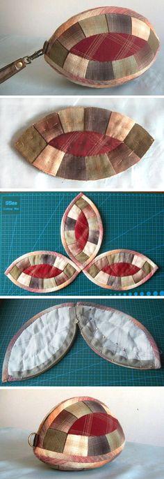 Craft Idea. Small Handbag Purse Patchwork. Photo Tutorial. Step by step DIY.  http://www.handmadiya.com/2015/12/handbag-purse-patchwork.html