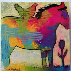 Horse & Bird Painting by Caren Goodrich Breezy Bird by caren