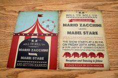 Circus inspired wedding invite  http://lefthandgang.co.uk/wp-content/uploads/2012/08/funfair_circus_themed_wedding_invit...