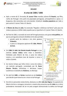 Resumo sobre a crise de 1383-1385.