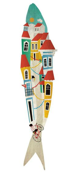 Climb a tremendous hill 'Sardine' from Festas de Lisboa. Illustrations, Illustration Art, Magic Places, Image Deco, Arte Tribal, Fish Design, Arte Pop, Jolie Photo, Fish Art