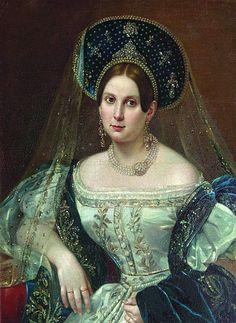 Russian Court dress in painting. Pimen N. Orlov. Portrait of Anna A.Okulova in Russian Court Dress. 1835. #history #Russian #court #dress