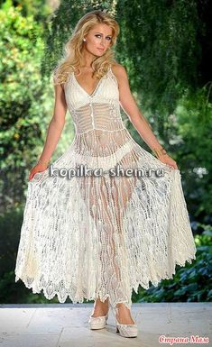 Пэрис Хилтон / Paris Hilton в шикарном вязаном платье. Схемы. - Все в ажуре... (вязание крючком) - Страна Мам