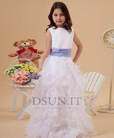 Abito cerimonia bambina Bianco Senza Maniche Cerniera Raso elastico Pieghe