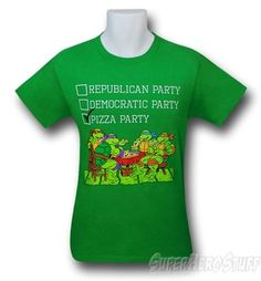 For the fashionable voter, always enjoy your civic privilege.  TMNT Vote Pizza Party Green 30 Single T-Shirt