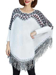 Material:Polyester,Cotton,Knit Style:Ethnic Pattern Style:Tassel Sleeve Length:Long Season:Spring,Fall,Winter Color:White     Package included:  1*Sweater Cloak