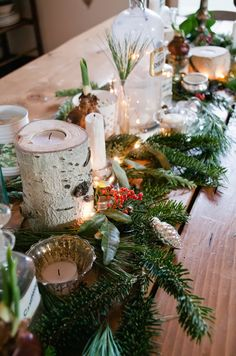 vintage ornaments and natural greenery