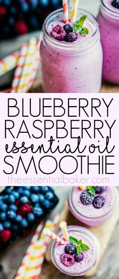 Smoothies are the perfect excuse to use your essential oils in edible food recipes, like this delicious and healthy Essential Oil Lavender Blueberry and Raspberry Smoothie! Recipes with essential oils.