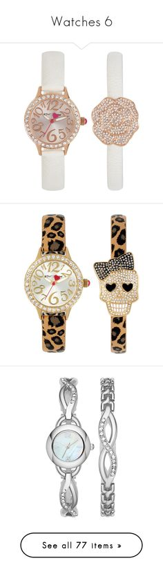 """""""Watches 6"""" by middletondonna ❤ liked on Polyvore featuring jewelry, watches, no color, pave jewelry, betsey johnson jewelry, betsey johnson watches, betsey johnson jewellery, betsey johnson, leopard watches and leopard print watches"""